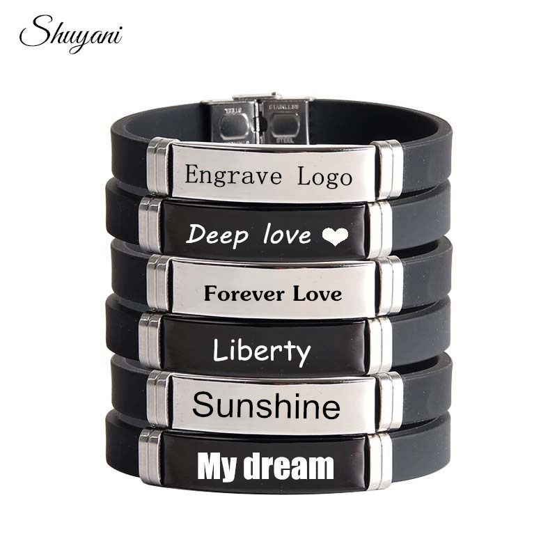 Engrave-Personalized-Name-ID-Bracelet-For-Women-Men-Silicone-Stainless-Steel-Custom-Cuff-Wristband-Bracelet-Bangle