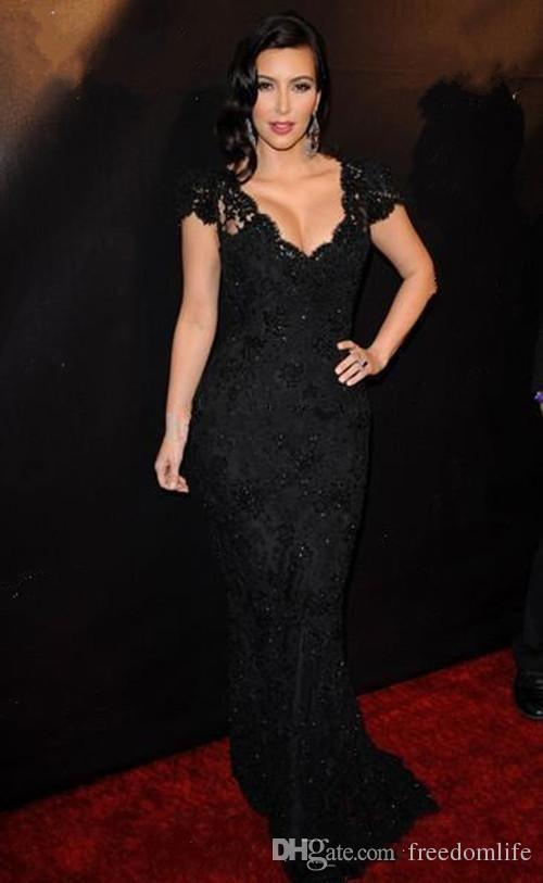 High Quality Kim Kardashian Awards Black Celebrity Evening Dresses Cap Sleeves V Neck Lace Mermaid Prom Dress Party Gowns