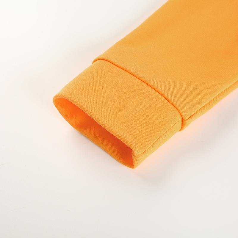 10Sweetown Plus Size Crop Top Long Sleeve Tshirt Women Orange Letter Printed Tee Shirt Femme Girl Power Woman T Shirt Hoodie Top