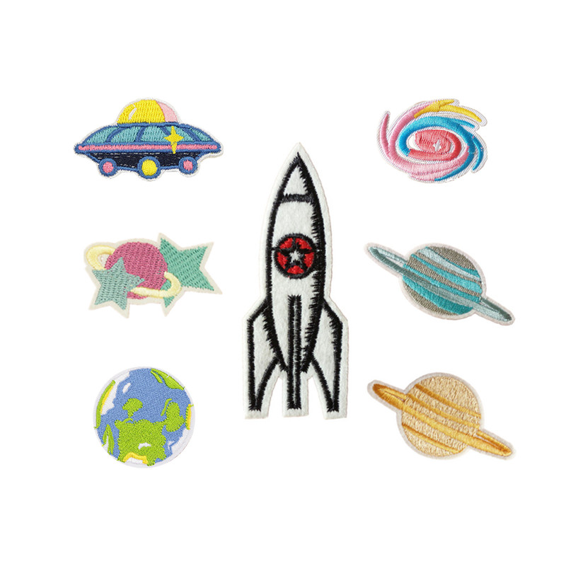 Kids Space Rocket Shuttle Applique Patch Iron on