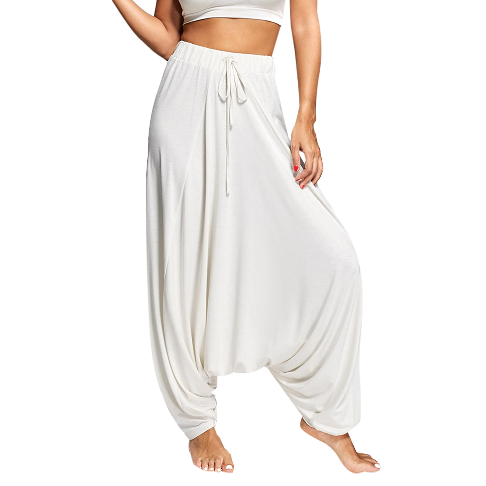 Gamiss Women Trouser Drop Bottom Harem Pants With Drawstring Casual Loose Plus Size Full Length Pants Hippie Balloon Pants S-2xl Q190510