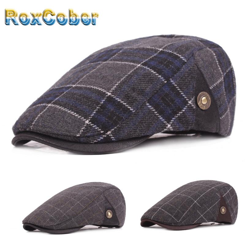 Roxcober Hommes Femmes Plaid Bérets Coton Doux Ivy Flat Cap Gatsby Newsboy Cap
