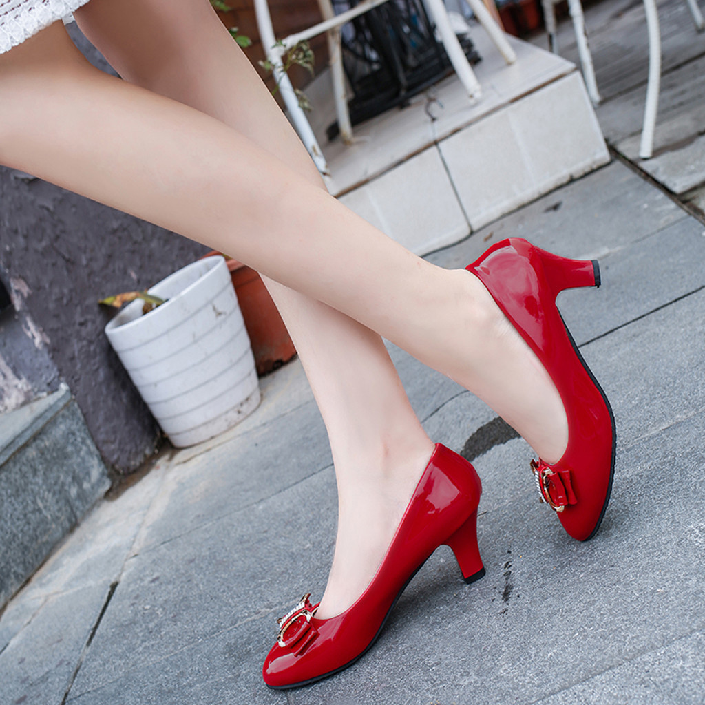 Dress Shoes Sexy Women Wild Single Fashion Bow Round Head Shallow Mouth Non-slip Mid Heel Solid Color Casual Zapatos Mujer