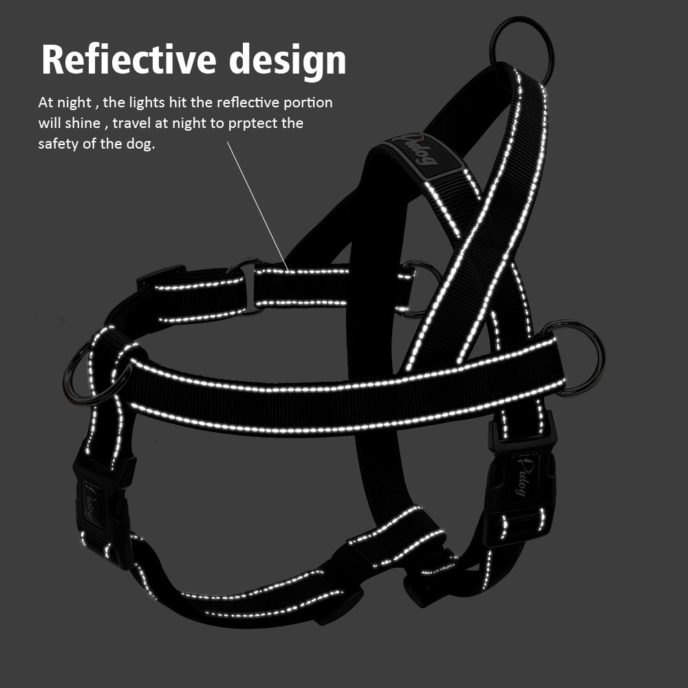 Nylon Reflective No Pull Large Dog Harness Quick Fit Pet Harnesses Vest Adjustable For Large Dogs Golden Retriever Safety Black