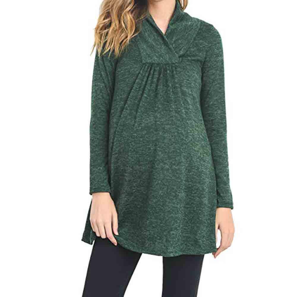 Moda Embarazo Ropa de maternidad Ropa de maternidad Tops Ropa de maternidad suelta Camisas embarazadas Casual Manga larga con cuello en V