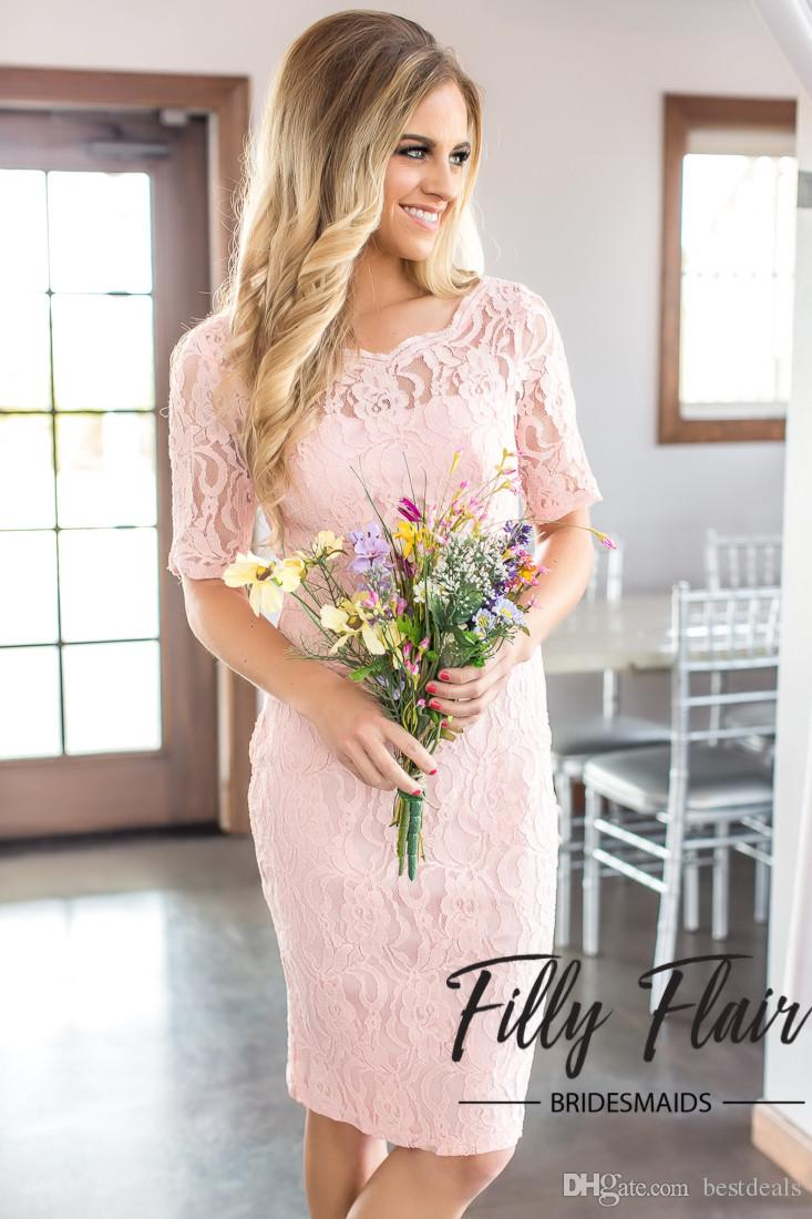 2017 Light Pink Short Lace Bridesmaid Dresses Short Sleeves Sheath Maid of Honor Gowns Beach Wedding Party Prom Dress