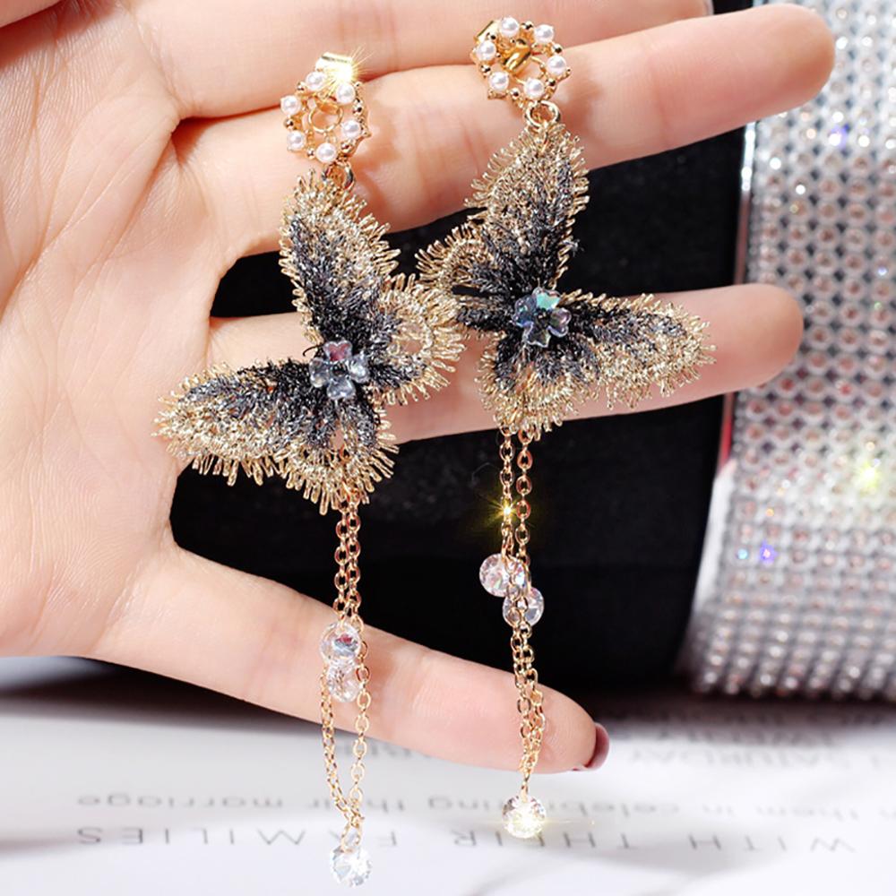Charme broderie papillon Cristal Tassel Dangle Boucles d/'oreilles femmes mariage bijoux