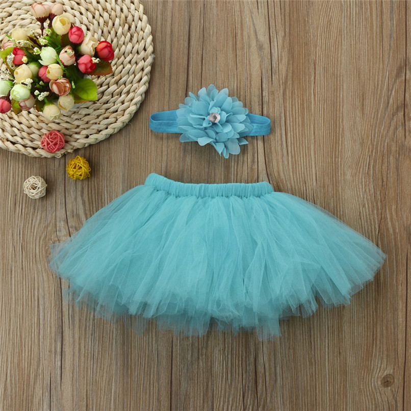 5 Color Summer Girls Skirt Toddler Baby Newborn Solid Lace Skirt+Floral Headband For Photo Prop Suit For 0-4M M8Y08 (8)