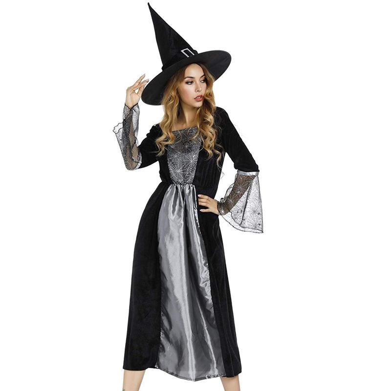 Les adultes maléfique Magicien Costume Robe Fantaisie Set Top Hat Magic Fancy Dress Halloween