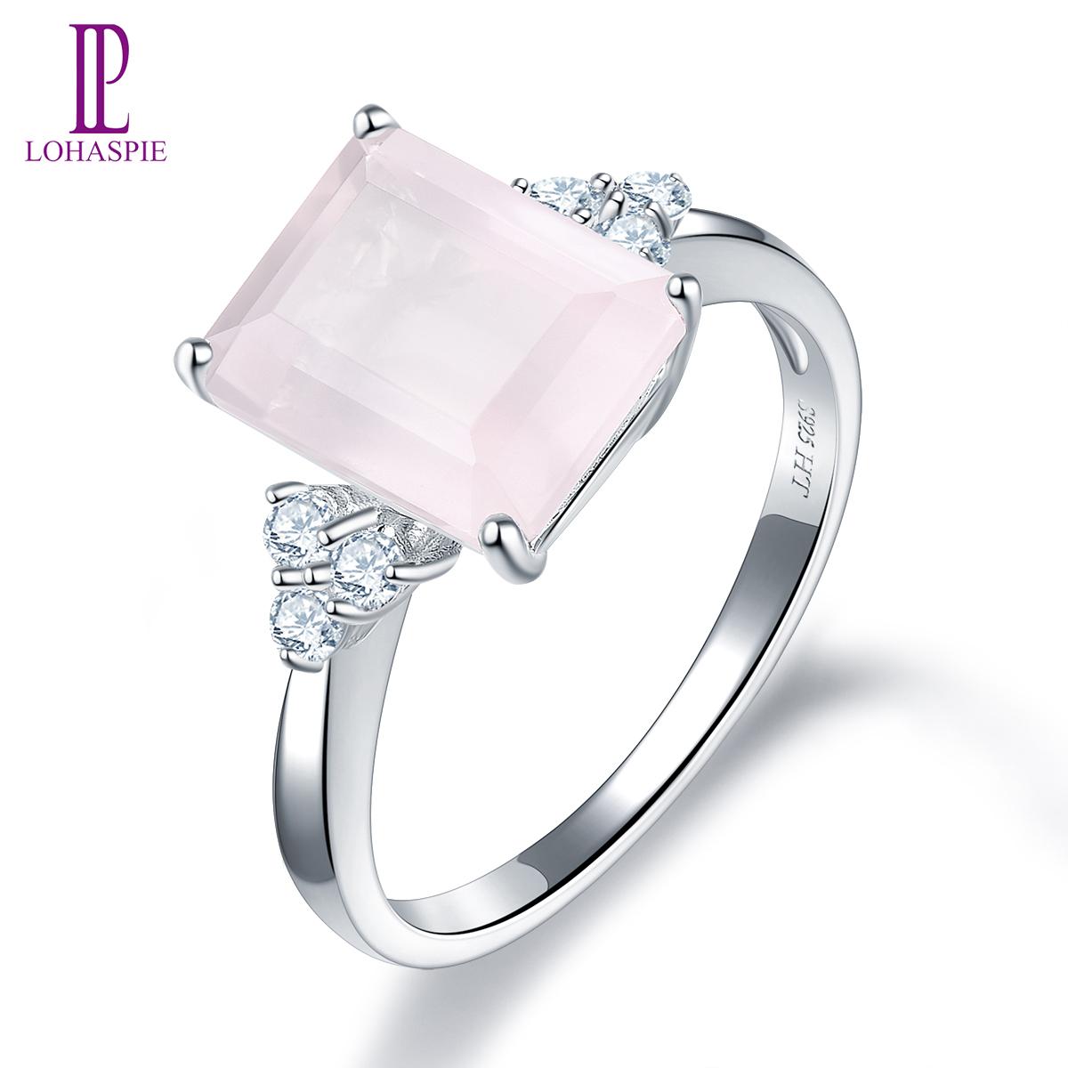 Fashion Argent 925 Carré Design Simple Quartz rose bijoux bague de mariage!!!