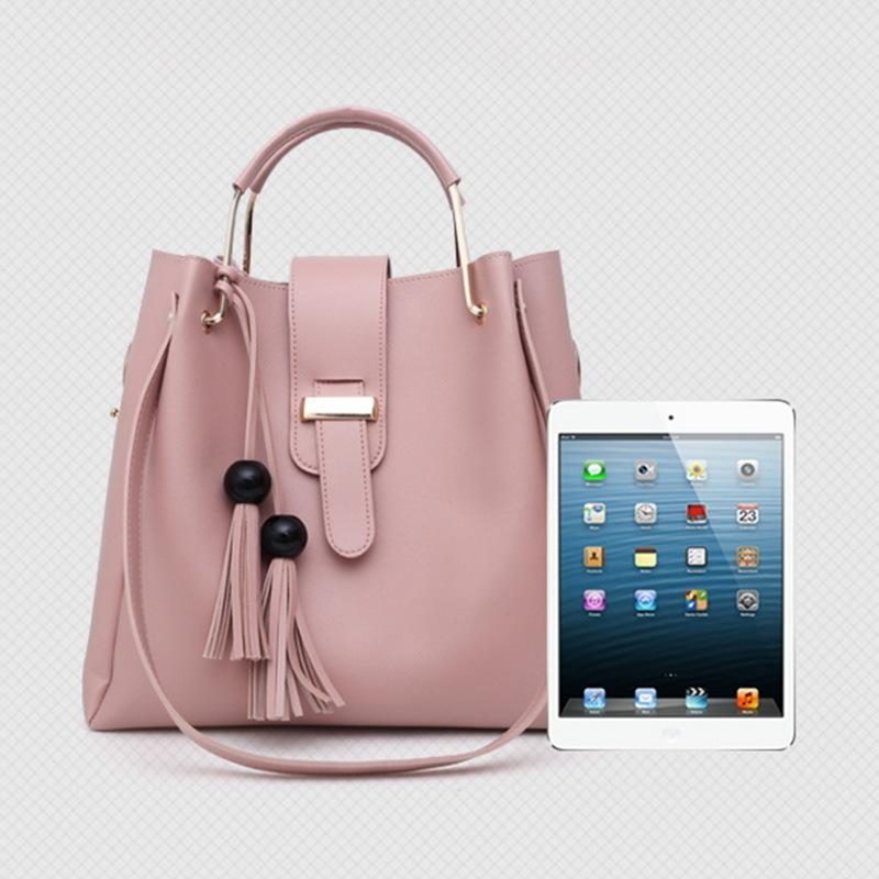 Women Handbags Pu Leather Shoulder Bags Casual Tote Bag Tassel Metal Handle Designer Composite Messenger Bag Y190124