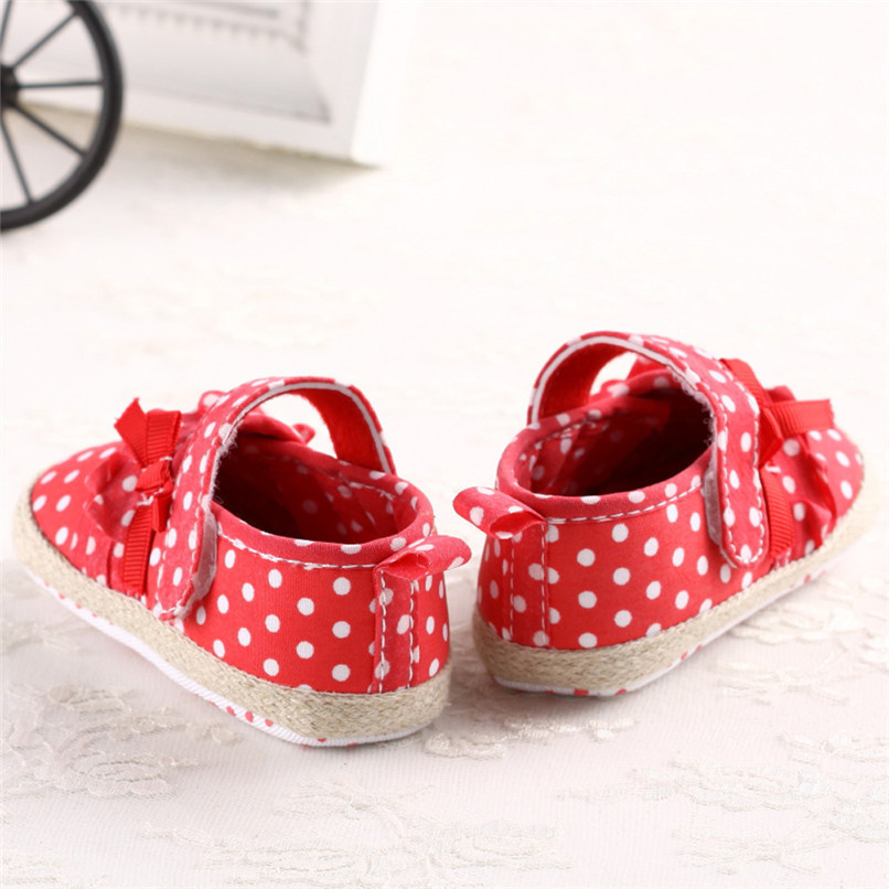 Baby Girls Shoes Fashion Newborn Infant Baby Girls Canvas Polka Dot Bowknot Shoes Soft Sole Anti-slip First Walker M8Y04 (3)