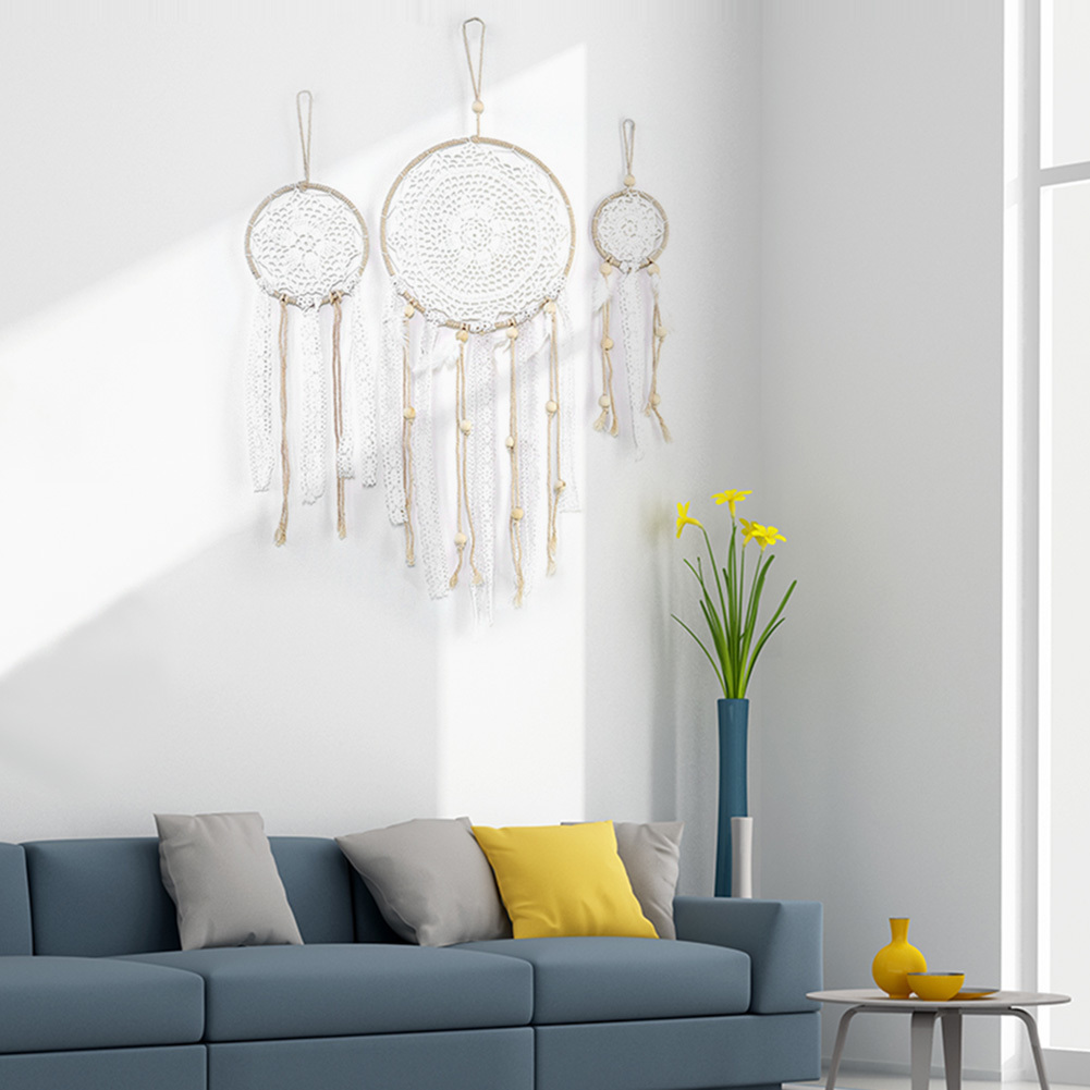Handmade Dream Catcher Indian Style Woven Wall Decoration White Dreamcatcher Wedding Party Hanging Decor Q190606