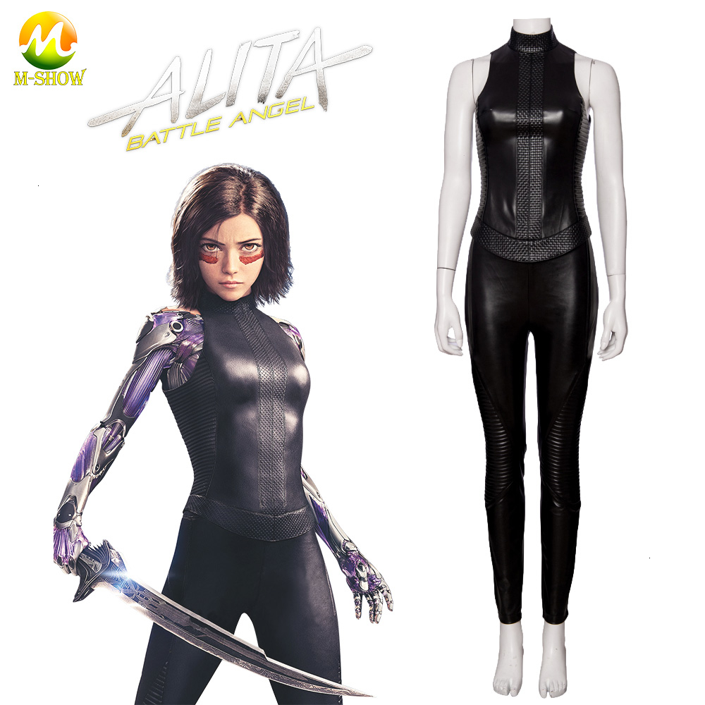 Alita Battle Angel Jumpsuit Womens Girls Black Cosplay Tight Bodysuit Costume