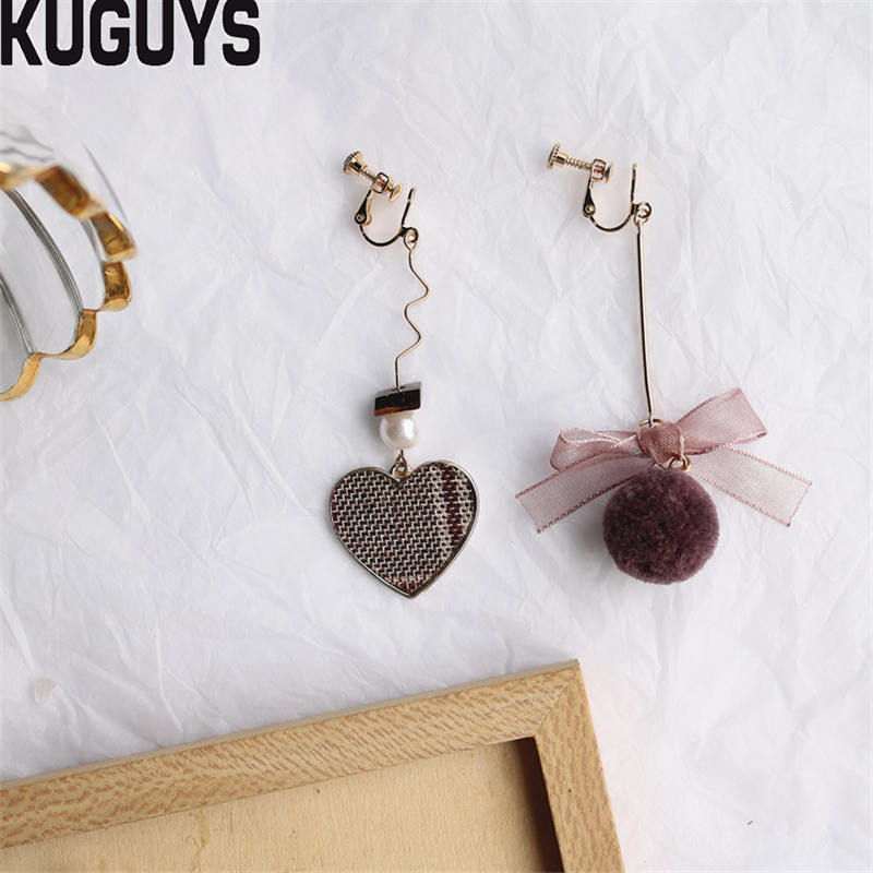 KUGUYS Fashion Jewelry Lace Bowknot Long Tassel Dangle Earrings for Womens Fuzzy Ball Plaid Heart Drop Earring Brincos Party Accessories