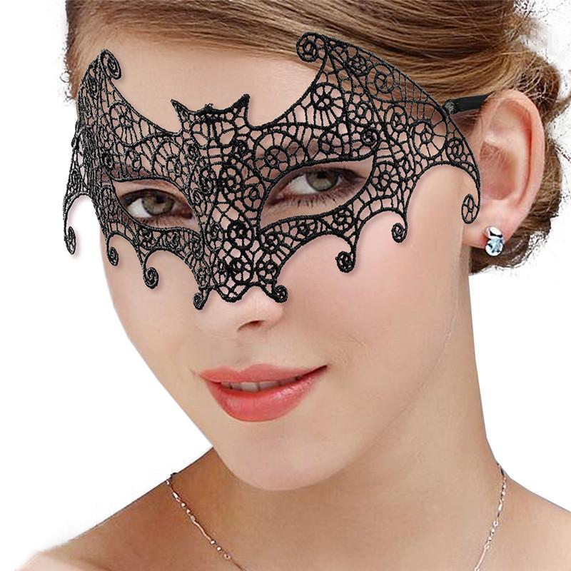 Dentelle noire Fleur Visage Masque Yeux Bandeau Masquerade Party Femmes Coiffure Cosplay