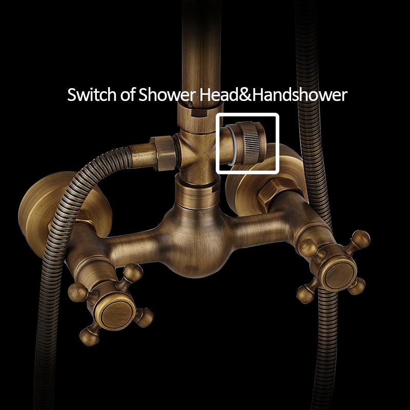 quyanre wanfan gappo antique brass shower faucet set brass rainfall shower head dual handles mixer tap wall mount antique brass shower kit4