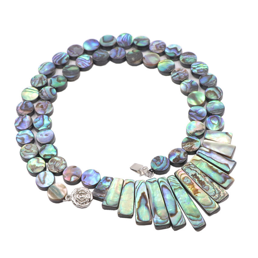 """FC042105 19/"""" Natural Pearl Paua Abalone Shell Necklace"""