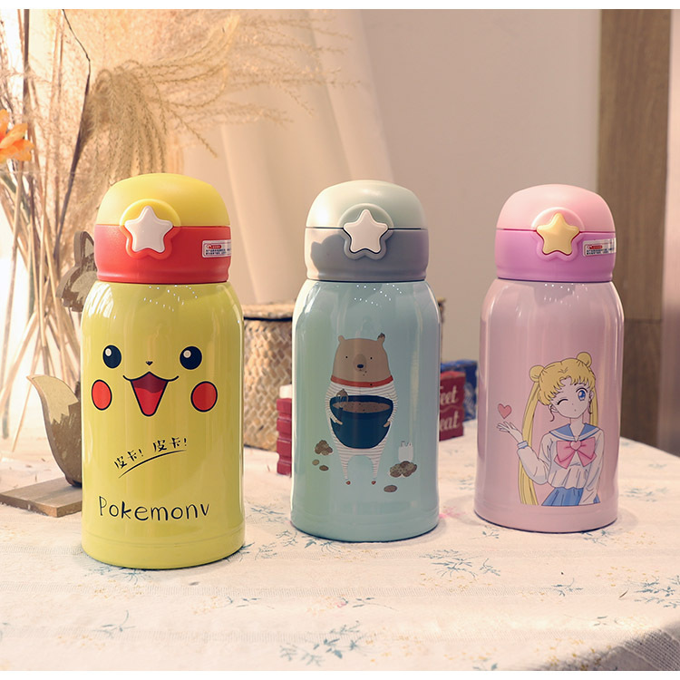Helper Description Figure:316Children`s Vacuum Cup with Straw Dual-Purpose Water Cup Cute Girl`s Heart Primary School Student