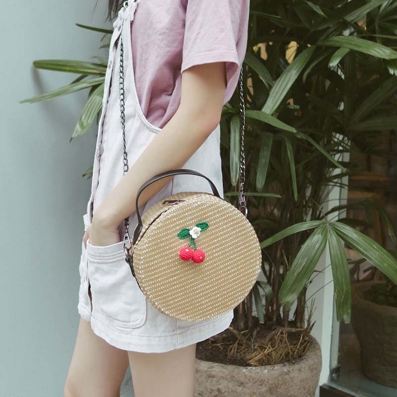 New Women Circle Handbag Summer INS Popular Female Straw Bag Cherry Lady Knit Shoulder Bag Fashion Holiday Crossbody SS7314 (6)