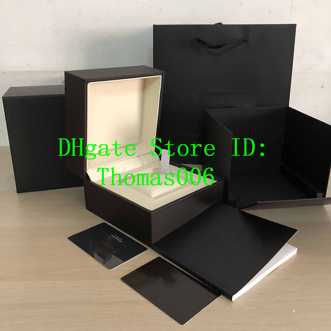 Best Quality Dark Brown Box Gift Case For Taghere Watches Booklet Card Tags And Papers In English Swiss Watches Boxes