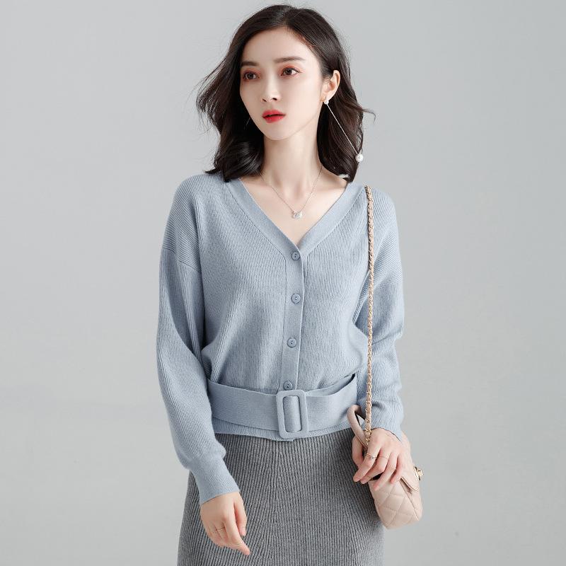 2019 Autumn Winter Women Short Sashes V-neck Long Sleeve Open Stitch Knitting Sweater Female Single Breasted Office Lady Sweater