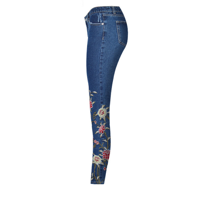 2017 European and American women 3D stereo front and rear side embroidery high waist Slim cowboy nine feet pants fashion wild (13)