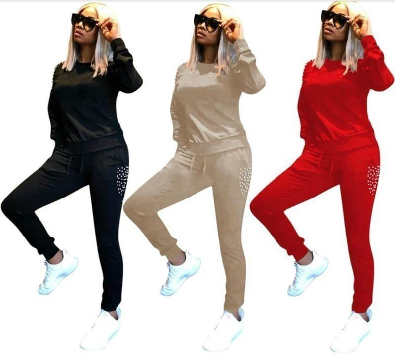 Марка дизайнер женщины Зимние виды спорта рубашка экипаж бег трусцой два  комплекта костюм жемчужина толстовка леггинсы 9f48b211769