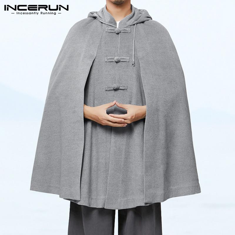 New Womens Long Cape Cloak Hooded Wool Blend Coat Sleeveless Retro Solid Tops