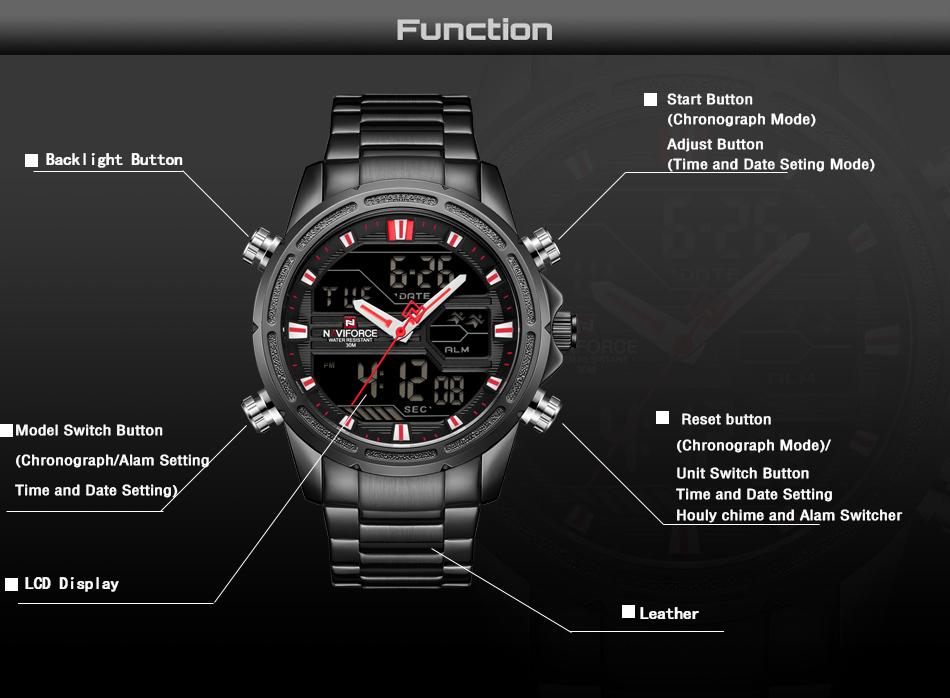 New Watches Men Luxury Top Brand Naviforce Led Men Sports Watches  Waterproof Full Steel Quartz Men'S Watch Relogio Masculino Cheap Watches  Digital