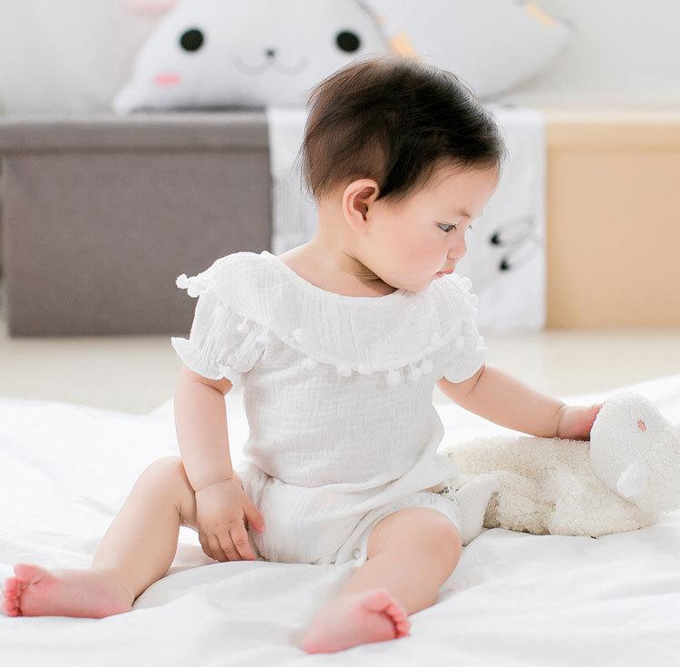 Cute Newborn Baby Girl Romper 2017 Summer short sleeve Princess fur ball Sunsuit One Pieces Tassel Clothes free drop shipping (16)