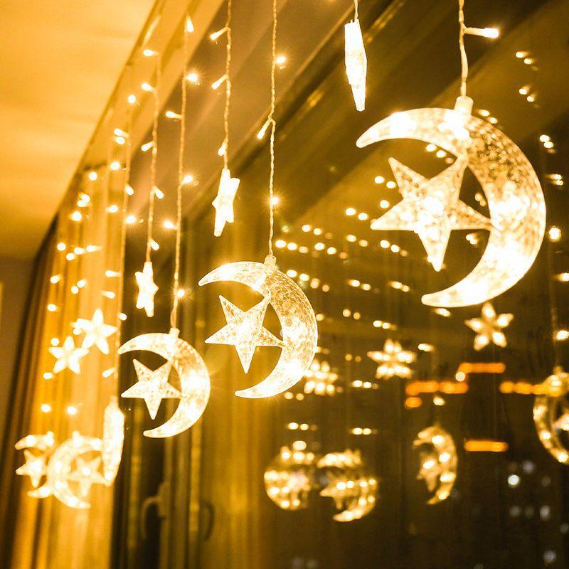 138 LED Star Moon String Lights Curtain Fairy Light Holiday Party Christmas Light Garden Home Xmas New Year Wedding Decoration