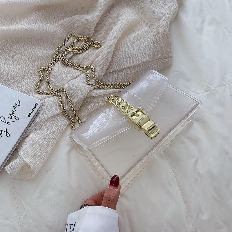 Clair Transparent Pvc Chaîne Jelly Bag Lady Sac À Main Bonbons Couleur Gradient Sac À Bandoulière Pour Les Femmes Mini Sac À Bandoulière D'embrayage