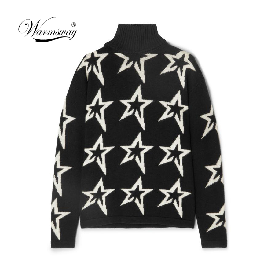 Female winter Women white Star Dust Instarsia Wool Turtleneck Sweater pullover women