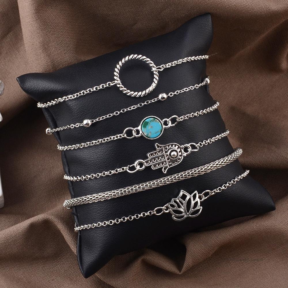 6-unids-set-bohemio-Vintage-de-Color-plata-hueco-flores-de-loto-gema-pulsera-de-las (5)