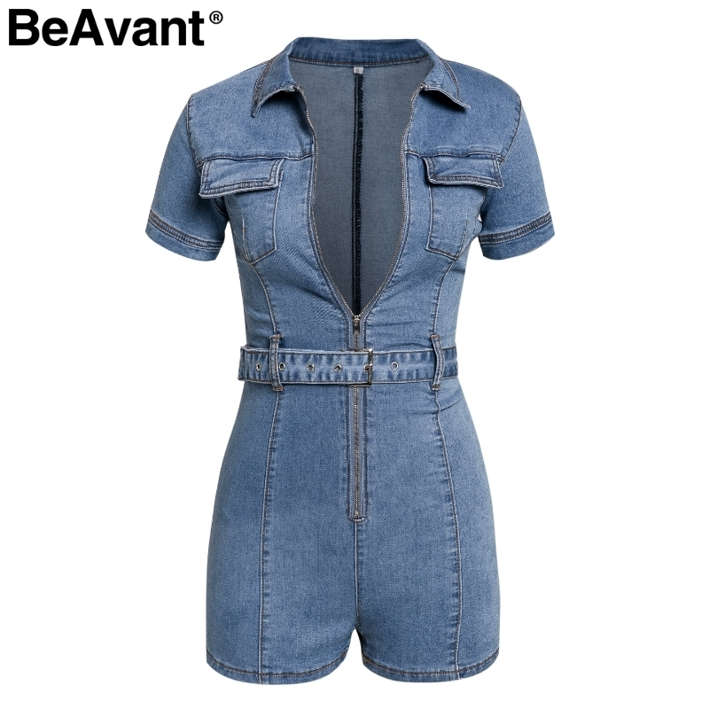 Beavant 2019 Summer Denim Jumpsuit Women Rompers Zipper Pocket Bodycon Jeans Overalls Casual Fashion Party Club Sexy Combishort C19040402
