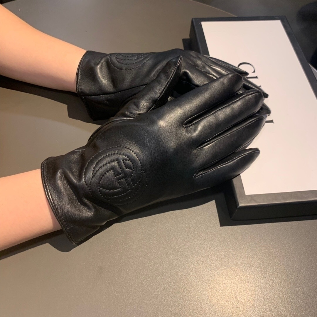 Touch Screen pelle Five Finger Gloves cotone termica delle donne di stile di moda del velluto Fodera caldi guanti invernali di pecora