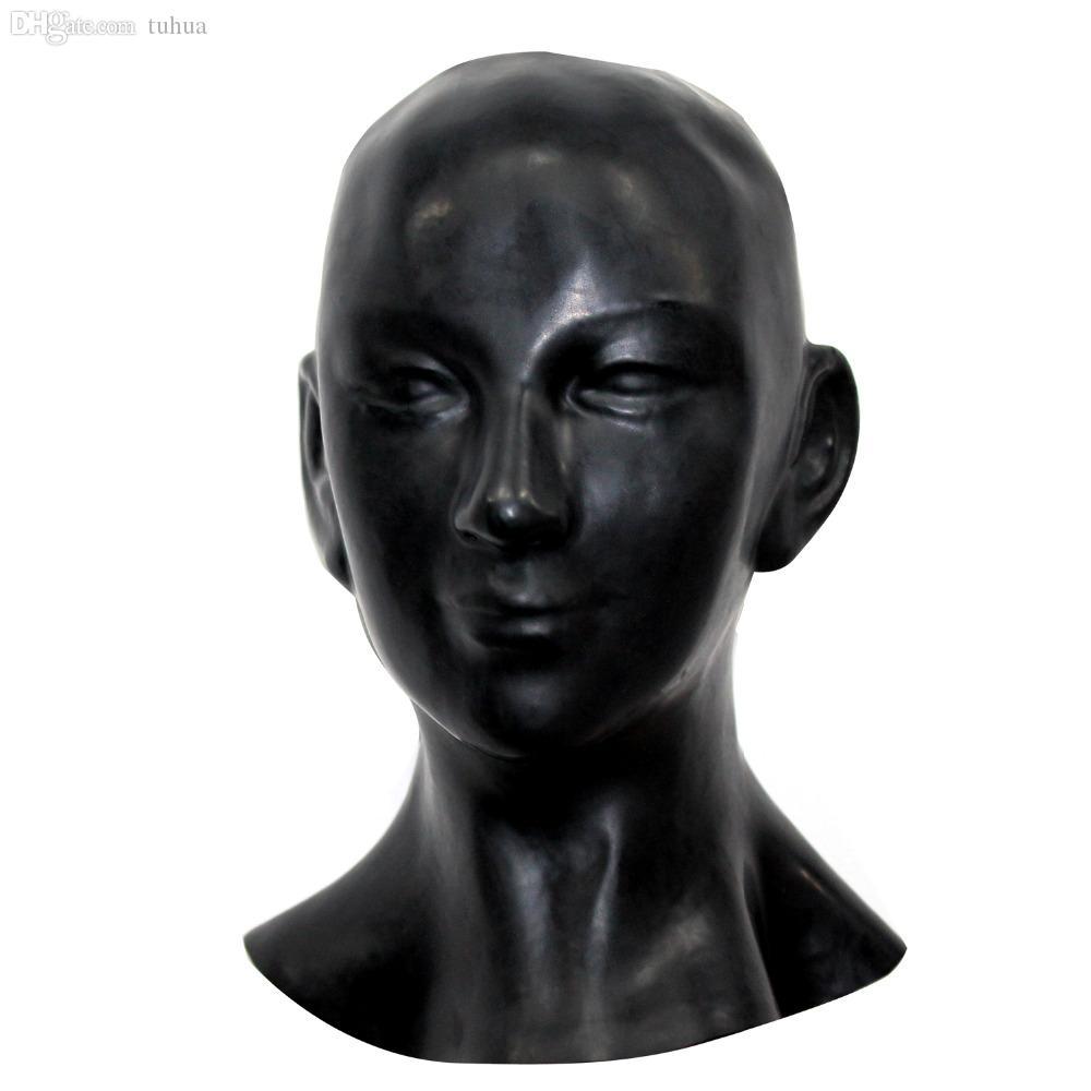 2019 Unisex Latex Horse Mask with Zipper Closure Eyes open Black Hood