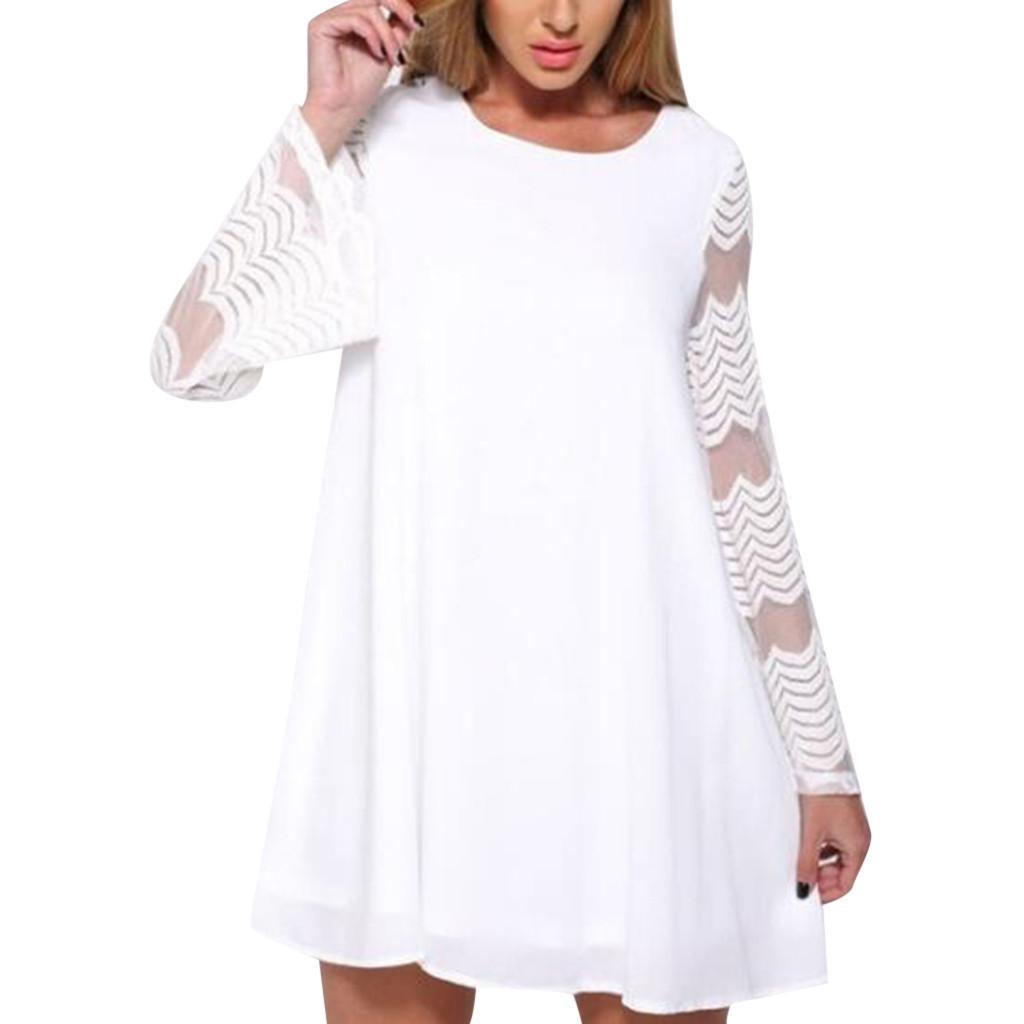Women O-neck Solid Summer Dresses Mesh Stripes Patchwork Dress Full Sleeve Short Loose Mini Dress Solid Black Casual