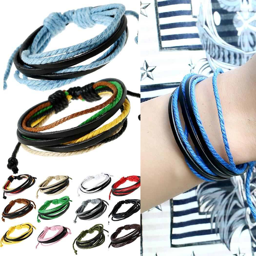 New Hand-Woven Vintage Style Leather Unisex Rope Wrap Bracelets New Fashion Jewelry & Watches