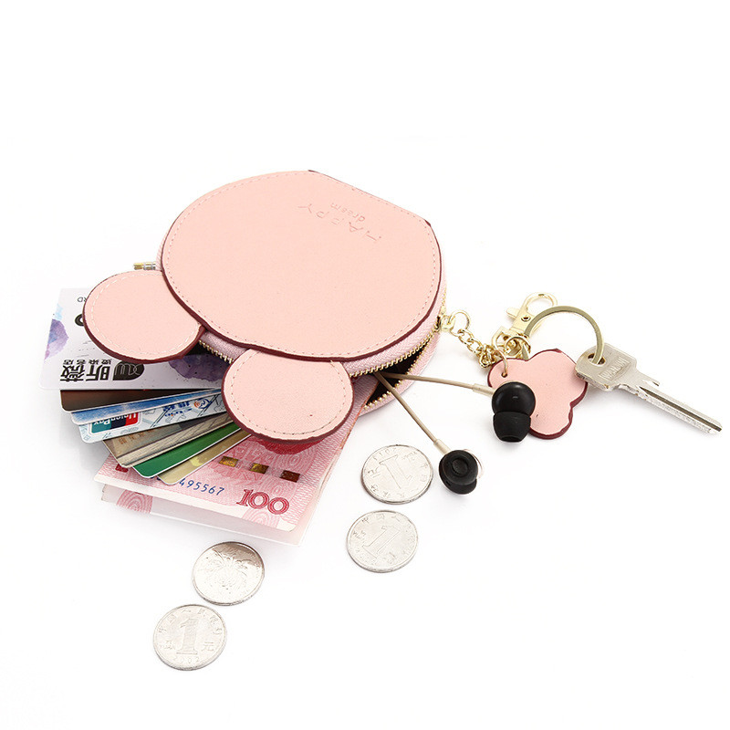 Felice sogno carino orecchie portamonete cerniera mini portafoglio rotondo orecchie Gilrs bambini studenti cambia borsa piccolo sacchetto zero borse portachiavi regali vendita