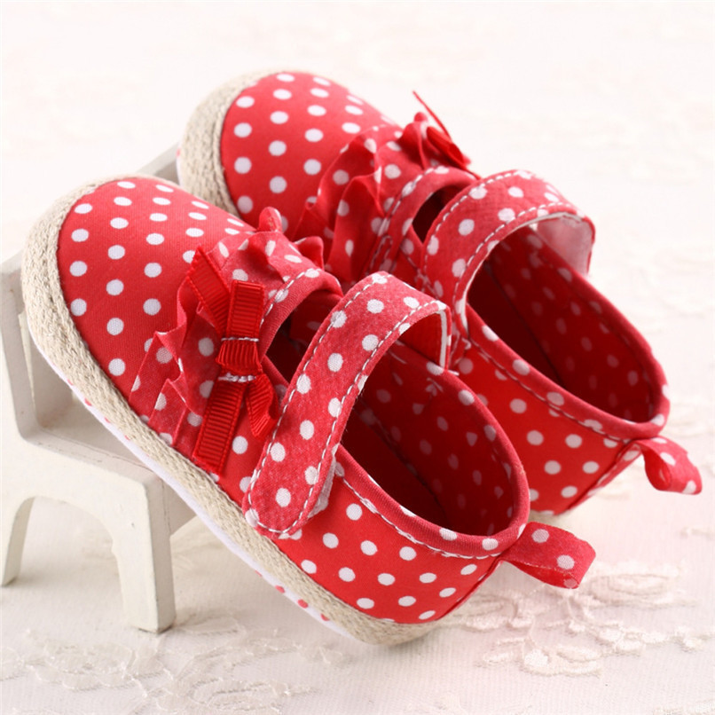 Baby Girls Shoes Fashion Newborn Infant Baby Girls Canvas Polka Dot Bowknot Shoes Soft Sole Anti-slip First Walker M8Y04 (7)