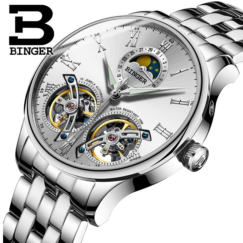 New Top Binger Автоматические механические наручные часы для мужчин с сапфировым стеклом Relogio Masculino