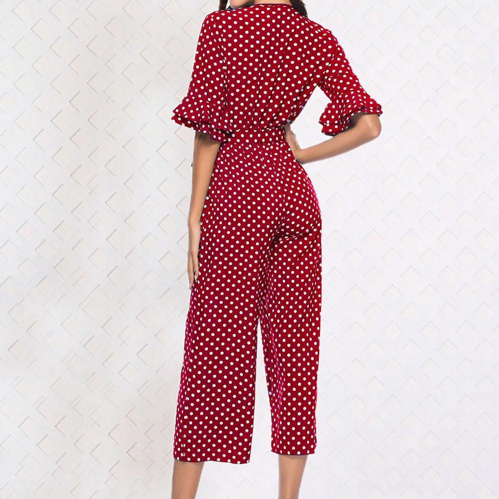 Black Sexy Polka Dot Printed V-neck Wide Leg Pants Long Bodycon Jumpsuit Romper Long Sleeve Bodysuit Length Polyester 2019 MX190726