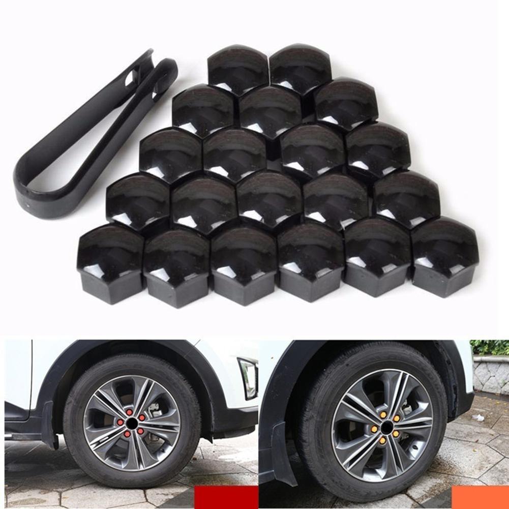 Black-17mm 17mm 20Pcs Set Car Silicone Wheel Nuts lug Hub Covers Screw Dust Protective Caps