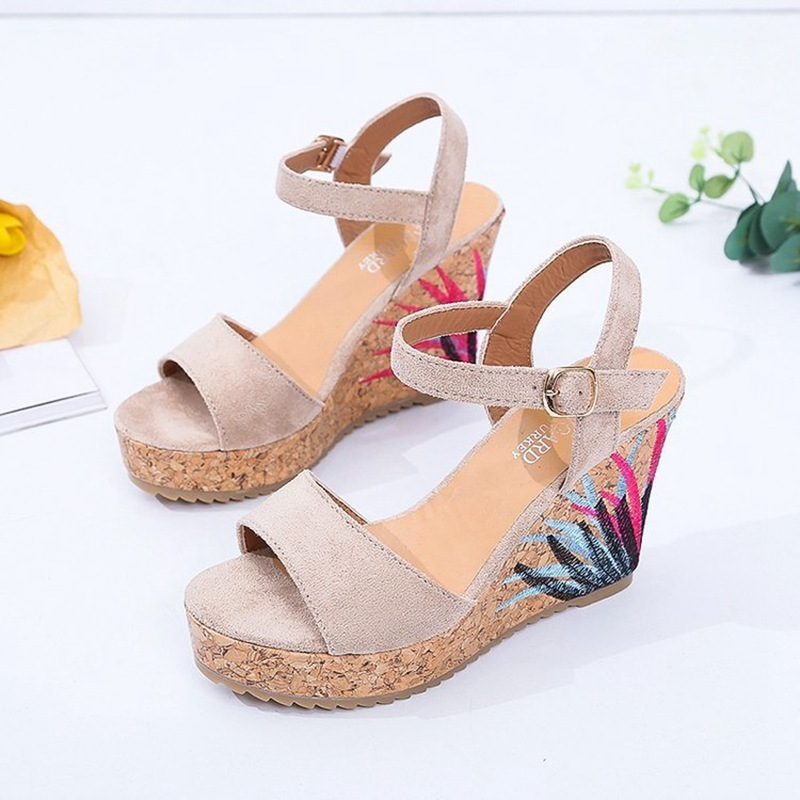 COOTELILI High Heels Women Summer Shoes Women Sandals Summer Shoes Women Open Toe Embroidery Beach Sandals 35-39 (2)