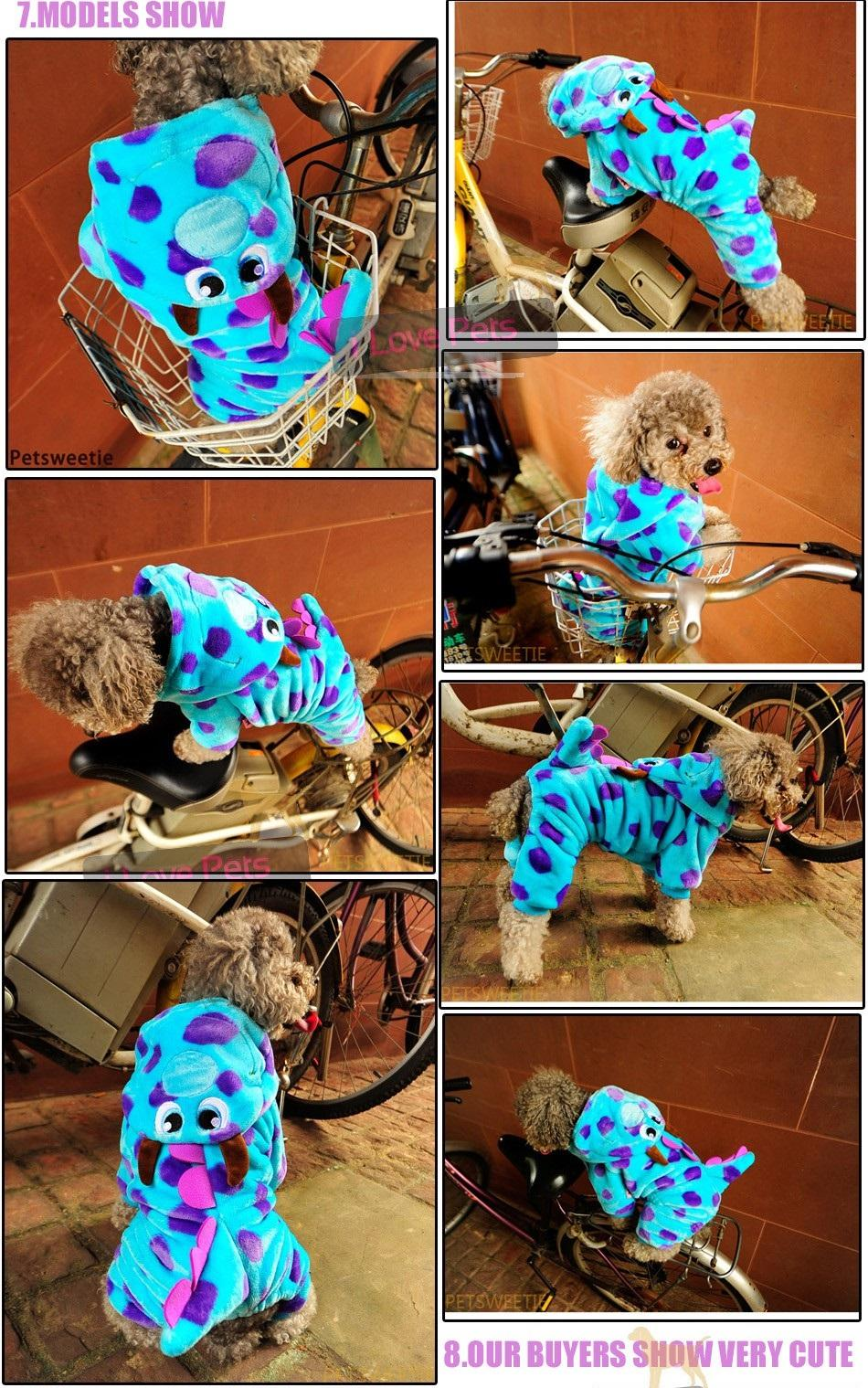 019 High Quality Dog Pet Clothes Super Cute Party Dress up Dog Clothing Coat Dragon Small Medium dog Blue Summer Winter Girl (2)