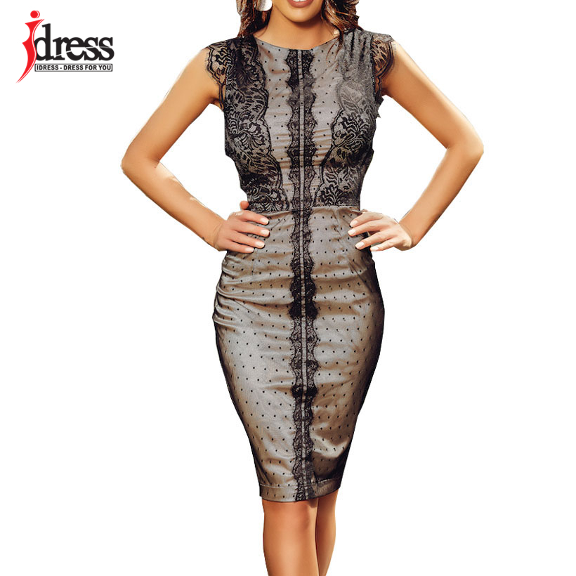 IDress 2019 New Sexy Women Dress Elegant Knee length Bodycon Midi Dress Sleeveless Party Night Cheap Clothes China Ladies Dress (1)