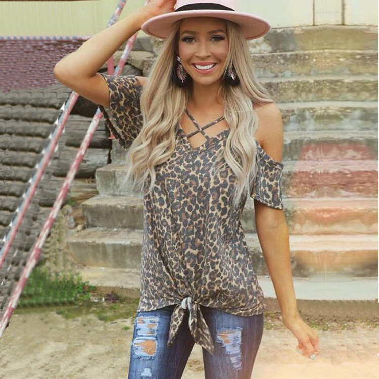 Неправильная юбка с леопардовым принтом Xia Kuansong с V-образным вырезом и короткими рукавами T Pity Woman
