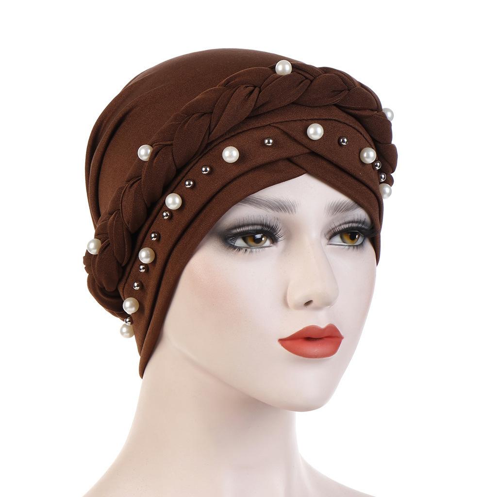 Europäischen Schal Hut Einfarbig Milch Seide Monochrome Einzelne Bar Braid Hut Nagel Weiße Perle Muslim Set Kopfkappe Waren Auf Lager